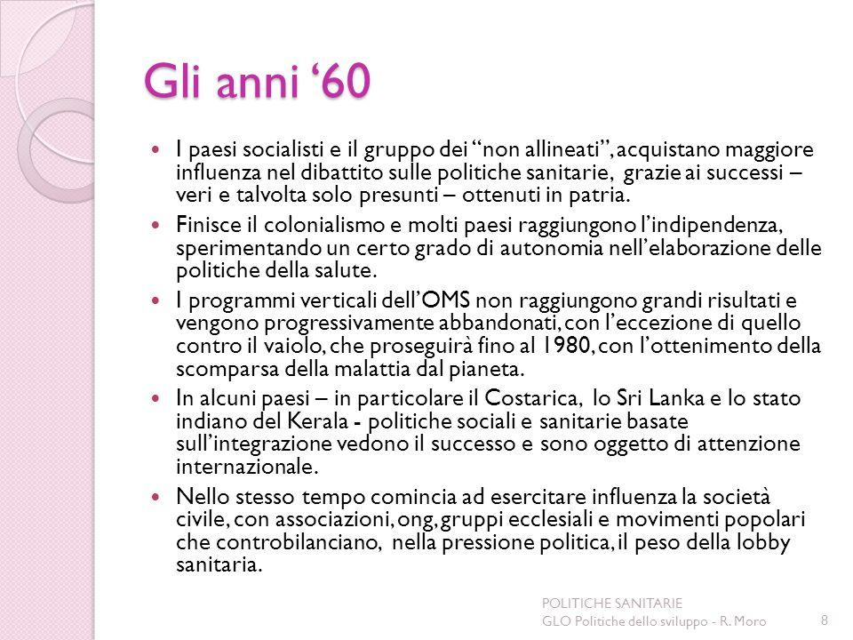 Gli anni 60 I paesi socialisti e il gruppo dei non allineati, acquistano maggiore influenza nel dibattito sulle politiche sanitarie, grazie ai success