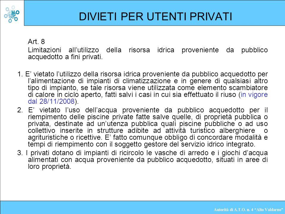 DIVIETI PER UTENTI PRIVATI Art. 8 Limitazioni allutilizzo della risorsa idrica proveniente da pubblico acquedotto a fini privati. 1. E vietato lutiliz