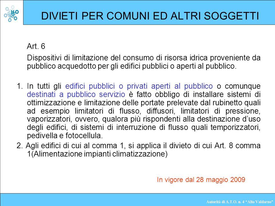DIVIETI PER COMUNI ED ALTRI SOGGETTI Art. 6 Dispositivi di limitazione del consumo di risorsa idrica proveniente da pubblico acquedotto per gli edific