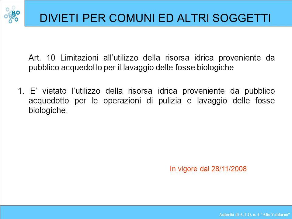 DIVIETI PER COMUNI ED ALTRI SOGGETTI Art. 10 Limitazioni allutilizzo della risorsa idrica proveniente da pubblico acquedotto per il lavaggio delle fos