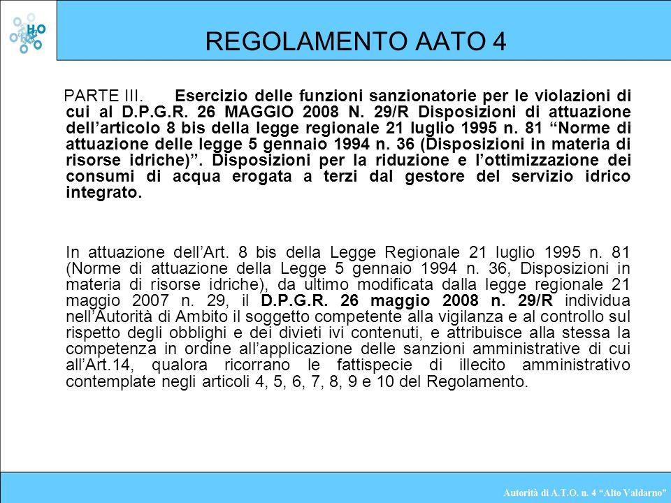 REGOLAMENTO AATO 4 PARTE III.Esercizio delle funzioni sanzionatorie per le violazioni di cui al D.P.G.R. 26 MAGGIO 2008 N. 29/R Disposizioni di attuaz