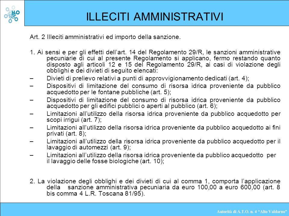 ILLECITI AMMINISTRATIVI Art. 2 Illeciti amministrativi ed importo della sanzione. 1. Ai sensi e per gli effetti dellart. 14 del Regolamento 29/R, le s