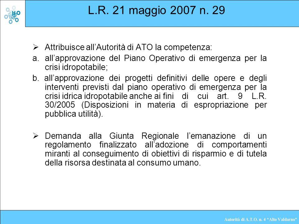 L.R. 21 maggio 2007 n. 29 Attribuisce allAutorità di ATO la competenza: allapprovazione del Piano Operativo di emergenza per la crisi idropotabile; b.