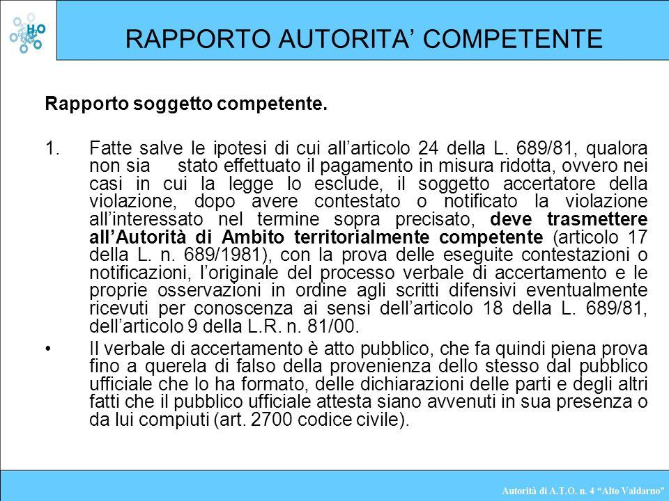 RAPPORTO AUTORITA COMPETENTE Rapporto soggetto competente. 1.Fatte salve le ipotesi di cui allarticolo 24 della L. 689/81, qualora non sia stato effet