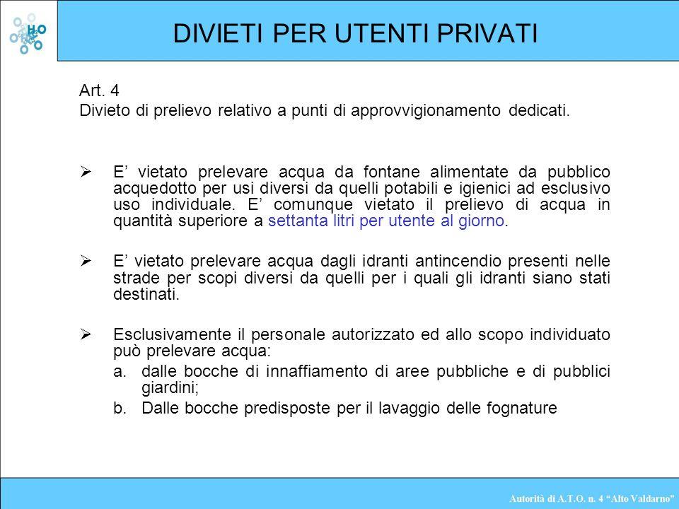 DIVIETI PER UTENTI PRIVATI Art. 4 Divieto di prelievo relativo a punti di approvvigionamento dedicati. E vietato prelevare acqua da fontane alimentate