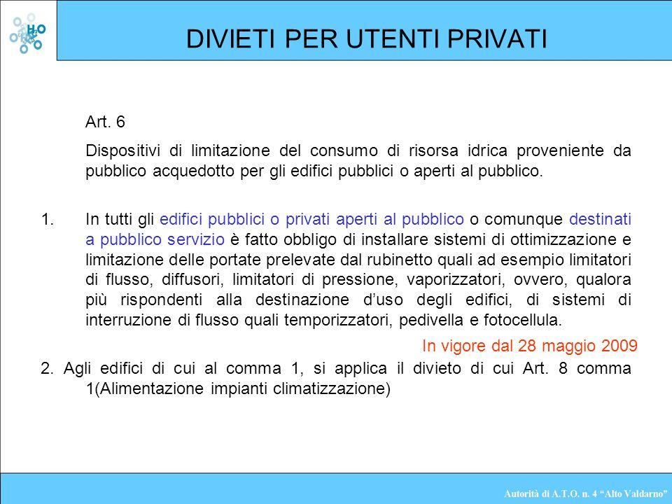 DIVIETI PER UTENTI PRIVATI Art. 6 Dispositivi di limitazione del consumo di risorsa idrica proveniente da pubblico acquedotto per gli edifici pubblici