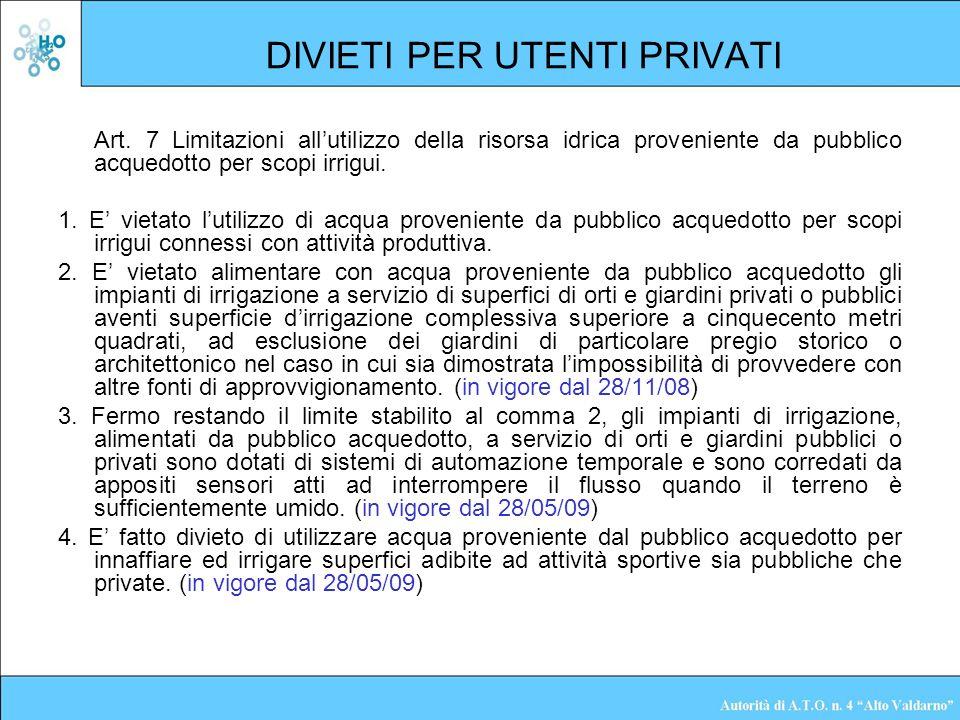 DIVIETI PER UTENTI PRIVATI Art. 7 Limitazioni allutilizzo della risorsa idrica proveniente da pubblico acquedotto per scopi irrigui. 1. E vietato luti