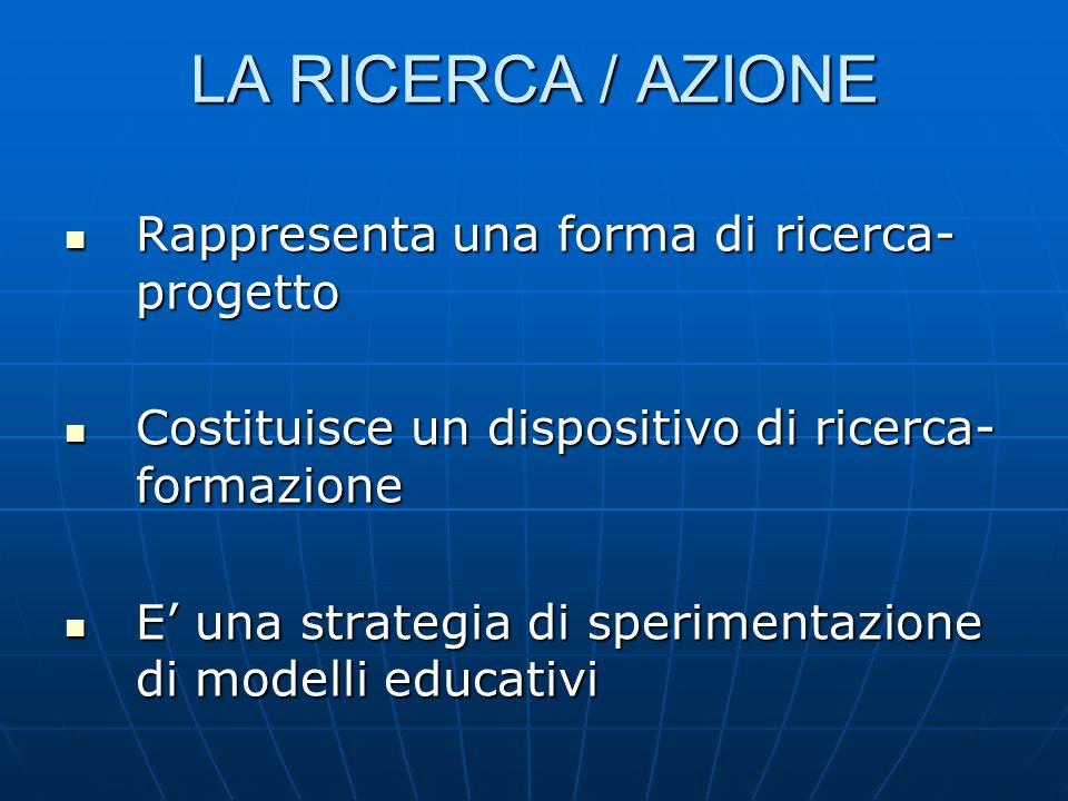 LA RICERCA / AZIONE Rappresenta una forma di ricerca- progetto Rappresenta una forma di ricerca- progetto Costituisce un dispositivo di ricerca- formazione Costituisce un dispositivo di ricerca- formazione E una strategia di sperimentazione di modelli educativi E una strategia di sperimentazione di modelli educativi