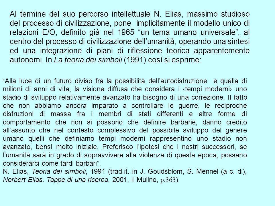 Al termine del suo percorso intellettuale N. Elias, massimo studioso del processo di civilizzazione, pone implicitamente il modello unico di relazioni