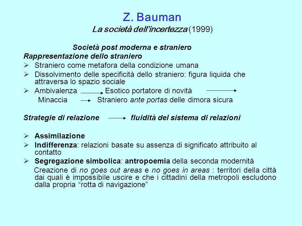Z. Bauman La società dellincertezza (1999) Società post moderna e straniero Rappresentazione dello straniero Straniero come metafora della condizione