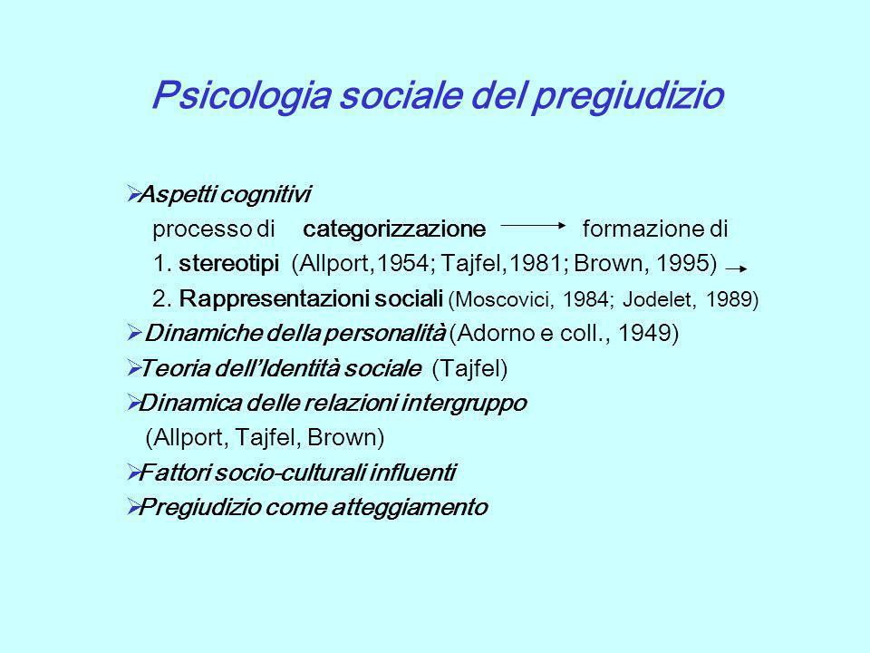 Psicologia sociale del pregiudizio Aspetti cognitivi processo di categorizzazione formazione di 1. stereotipi (Allport,1954; Tajfel,1981; Brown, 1995)