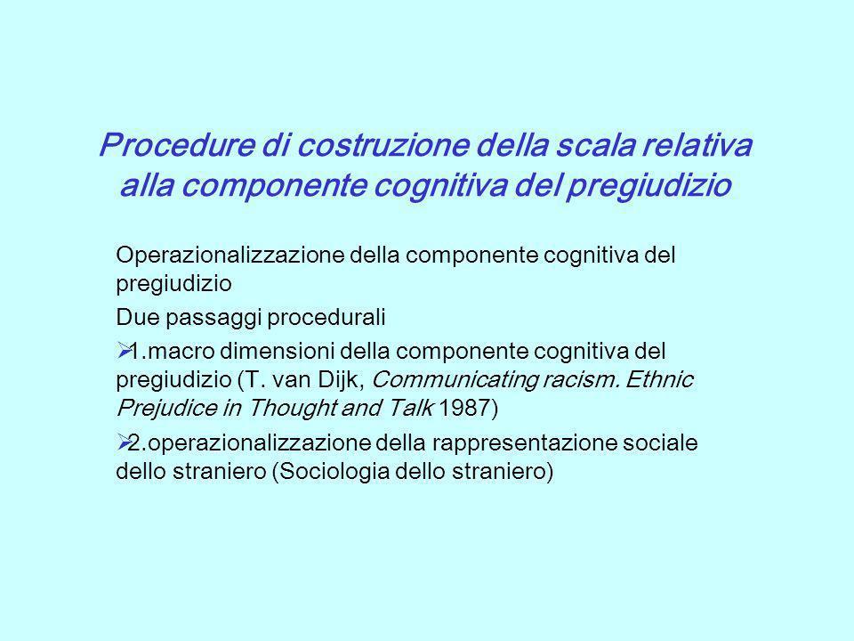 Procedure di costruzione della scala relativa alla componente cognitiva del pregiudizio Operazionalizzazione della componente cognitiva del pregiudizi
