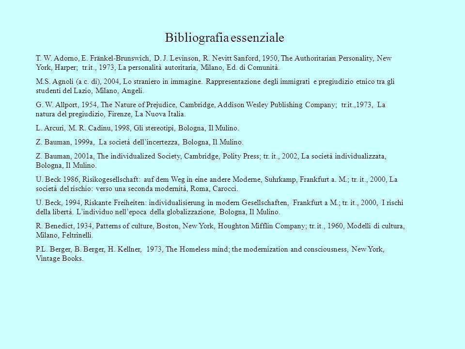 Bibliografia essenziale T. W. Adorno, E. Fränkel-Brunswich, D. J. Levinson, R. Nevitt Sanford, 1950, The Authoritarian Personality, New York, Harper;