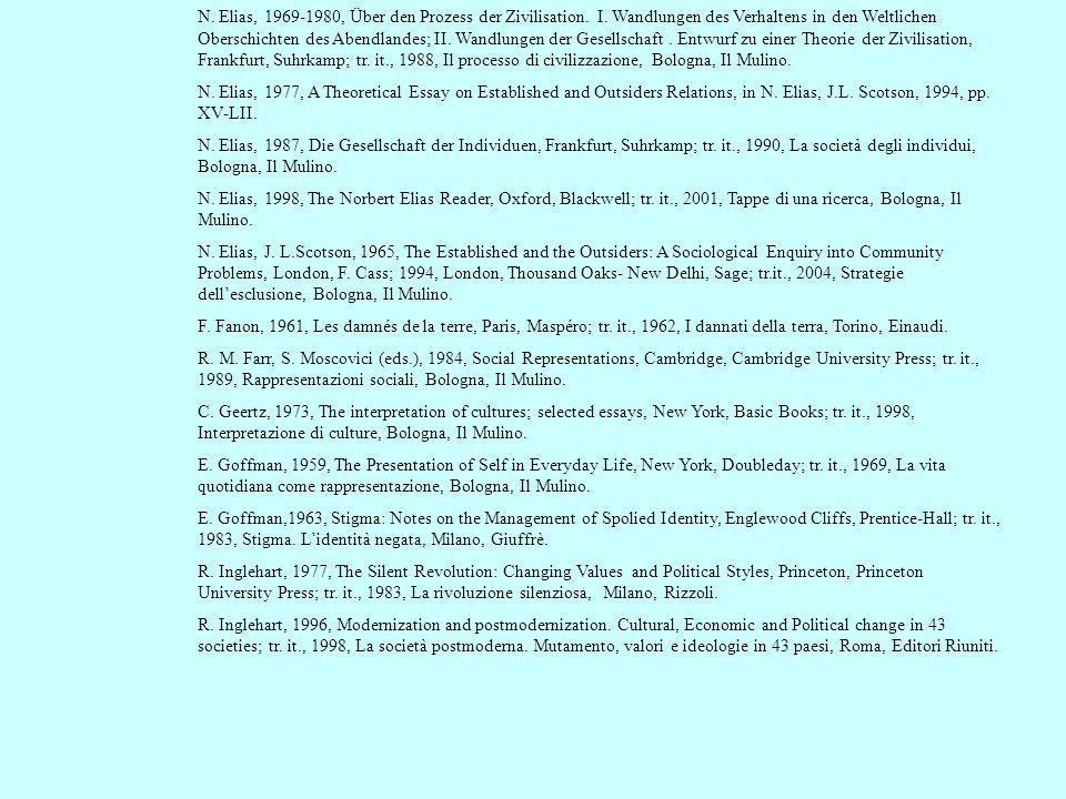 N. Elias, 1969-1980, Über den Prozess der Zivilisation. I. Wandlungen des Verhaltens in den Weltlichen Oberschichten des Abendlandes; II. Wandlungen d
