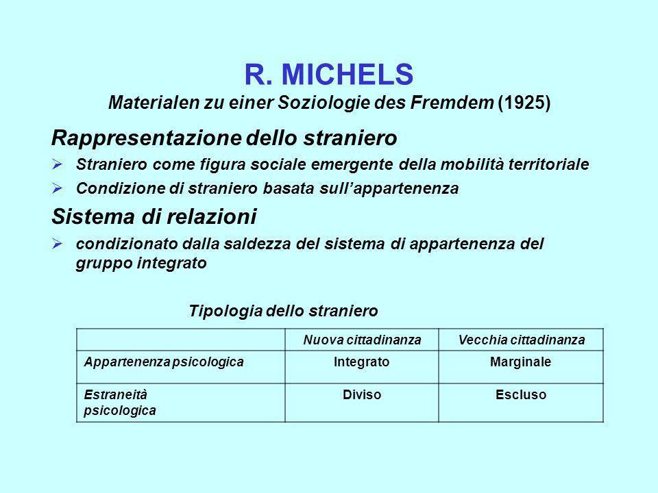 R. MICHELS Materialen zu einer Soziologie des Fremdem (1925) Rappresentazione dello straniero Straniero come figura sociale emergente della mobilità t