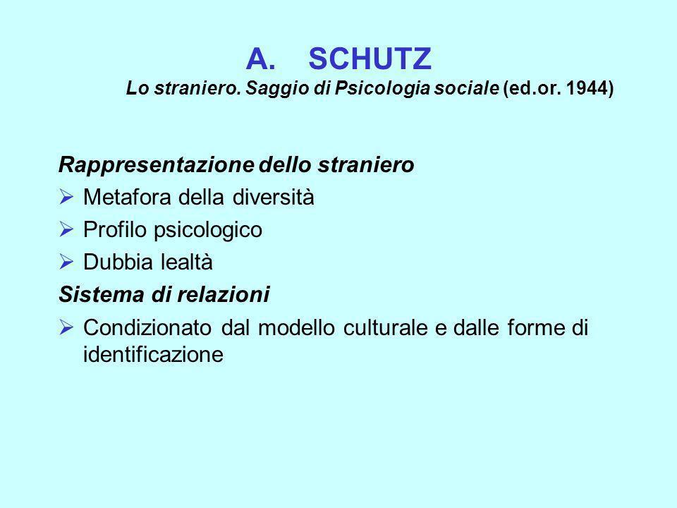 A.SCHUTZ Lo straniero. Saggio di Psicologia sociale (ed.or. 1944) Rappresentazione dello straniero Metafora della diversità Profilo psicologico Dubbia