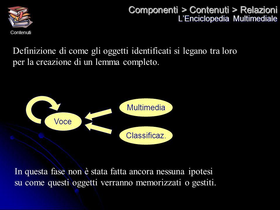 Componenti > Contenuti > Relazioni LEnciclopedia Multimediale Definizione di come gli oggetti identificati si legano tra loro per la creazione di un l