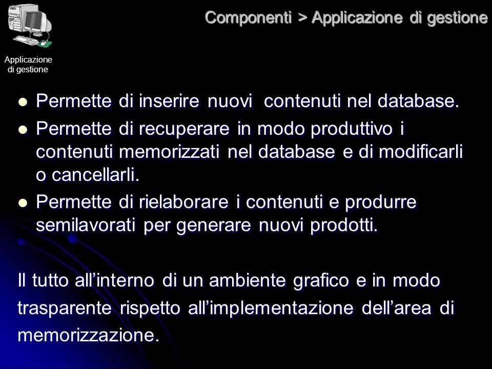 Componenti > Applicazione di gestione Permette di inserire nuovi contenuti nel database. Permette di inserire nuovi contenuti nel database. Permette d