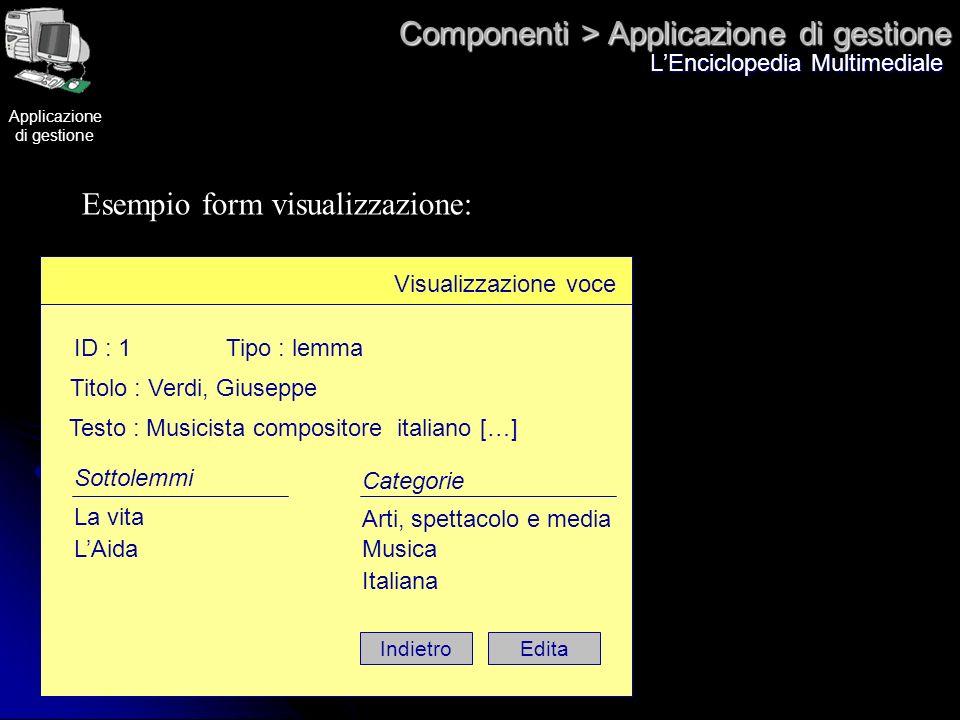 Componenti > Applicazione di gestione LEnciclopedia Multimediale Esempio form visualizzazione: Visualizzazione voce ID : 1Tipo : lemma Titolo : Verdi,