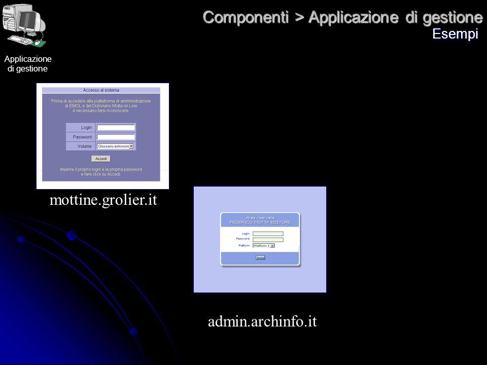 Componenti > Applicazione di gestione Esempi mottine.grolier.it admin.archinfo.it Applicazione di gestione