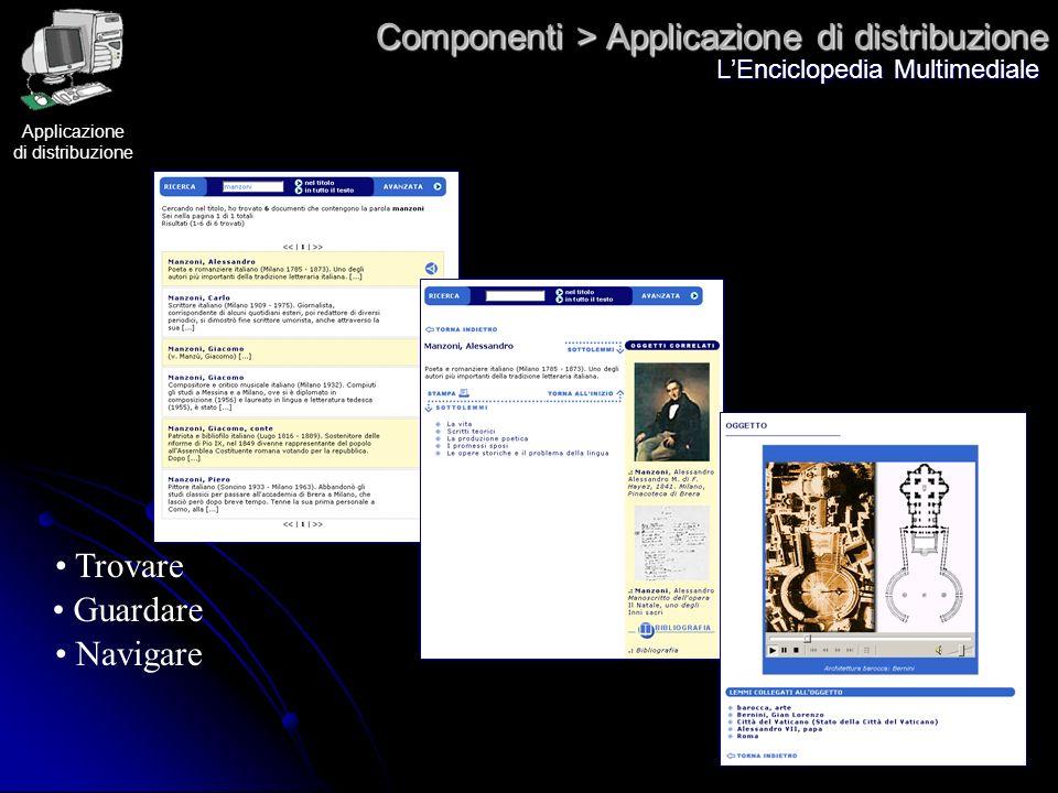 Componenti > Applicazione di distribuzione LEnciclopedia Multimediale Trovare Guardare Navigare Applicazione di distribuzione