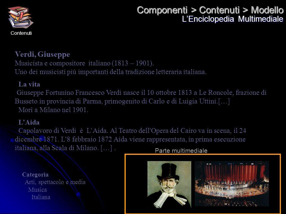 Componenti > Contenuti > Modello LEnciclopedia Multimediale Verdi, Giuseppe Musicista e compositore italiano (1813 – 1901). Uno dei musicisti più impo