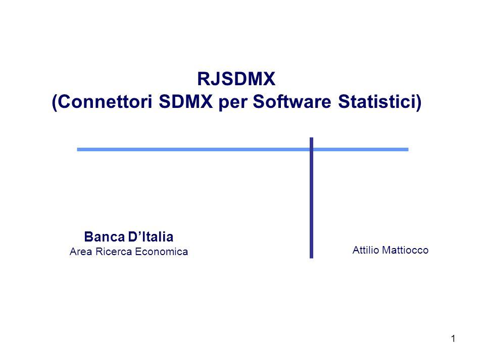 2 Cosè RJSDMX RJSDMX è un package per R, sviluppato dalla Banca dItalia, per laccesso a dati SDMX disseminati da providers istituzionali E stato ideato per portare in un ambiente computazionale R (nella forma di time series di tipo zoo) dati esposti attraverso Web Services SDMX.