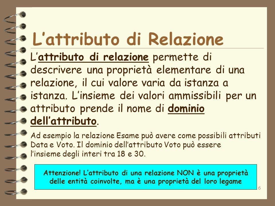 16 Lattributo di Relazione Lattributo di relazione permette di descrivere una proprietà elementare di una relazione, il cui valore varia da istanza a