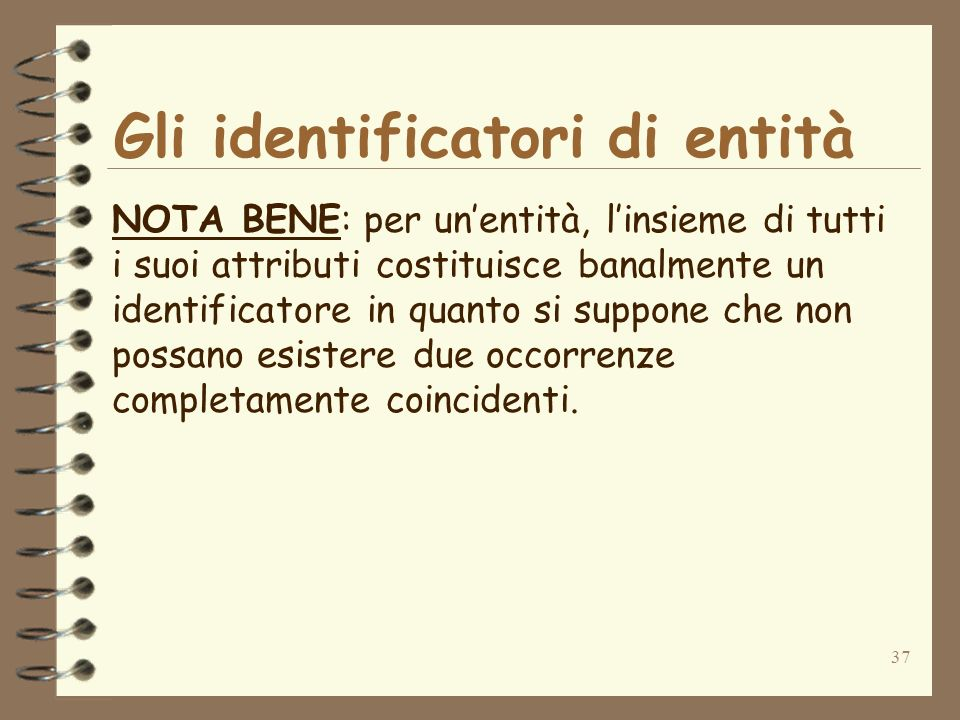 37 Gli identificatori di entità NOTA BENE: per unentità, linsieme di tutti i suoi attributi costituisce banalmente un identificatore in quanto si supp