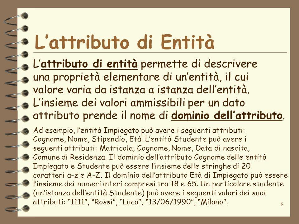 8 Lattributo di Entità Lattributo di entità permette di descrivere una proprietà elementare di unentità, il cui valore varia da istanza a istanza dell