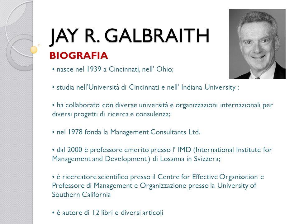 JAY R. GALBRAITH BIOGRAFIA nasce nel 1939 a Cincinnati, nell Ohio; studia nellUniversità di Cincinnati e nell Indiana University ; ha collaborato con