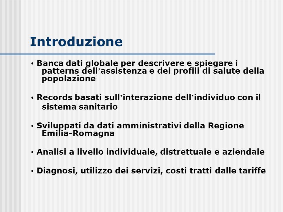 Introduzione Banca dati globale per descrivere e spiegare i patterns dell assistenza e dei profili di salute della popolazione Records basati sull int