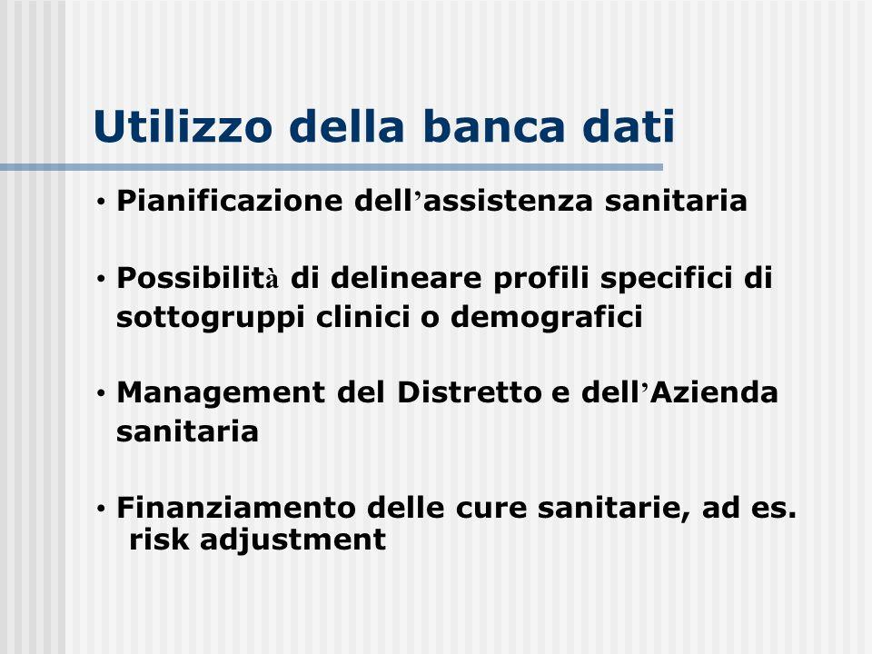 Utilizzo della banca dati Pianificazione dell assistenza sanitaria Possibilit à di delineare profili specifici di sottogruppi clinici o demografici Ma