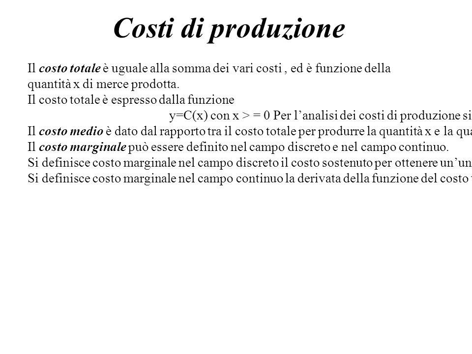 Costi di produzione Il costo totale è uguale alla somma dei vari costi, ed è funzione della quantità x di merce prodotta. Il costo totale è espresso d