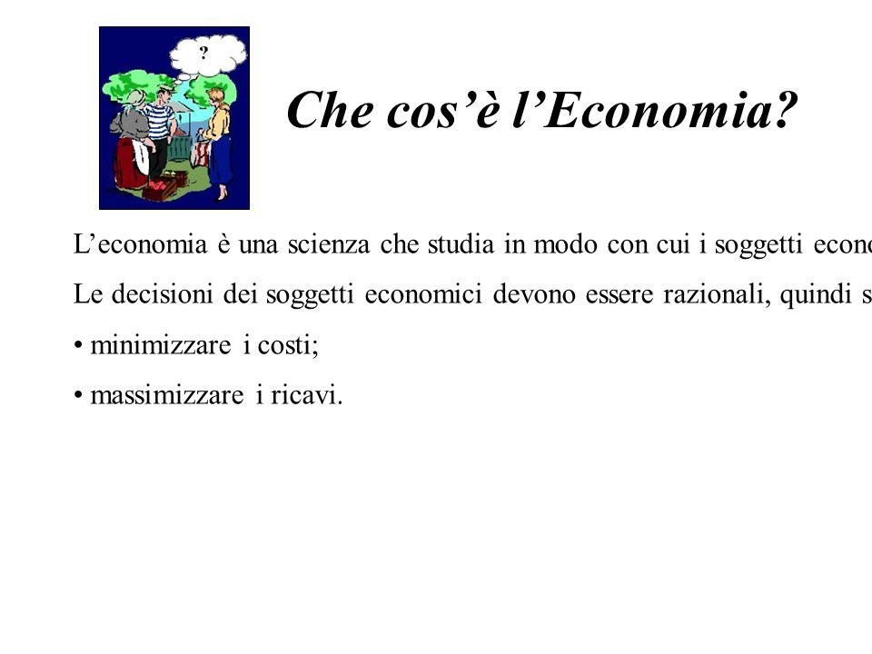 Che cosè lEconomia? Leconomia è una scienza che studia in modo con cui i soggetti economici prendono le decisioni per utilizzare al meglio le loro ris
