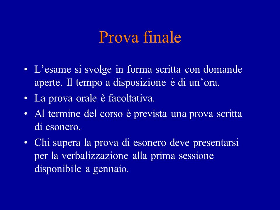 Prova finale Lesame si svolge in forma scritta con domande aperte.