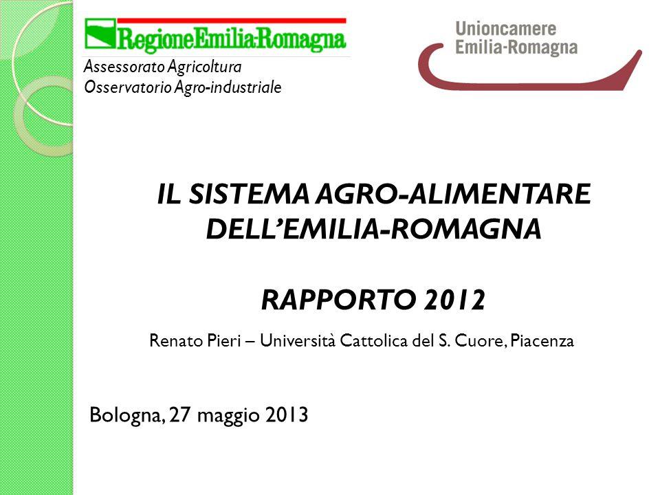 Assessorato Agricoltura Osservatorio Agro-industriale Bologna, 27 maggio 2013 IL SISTEMA AGRO-ALIMENTARE DELLEMILIA-ROMAGNA RAPPORTO 2012 Renato Pieri