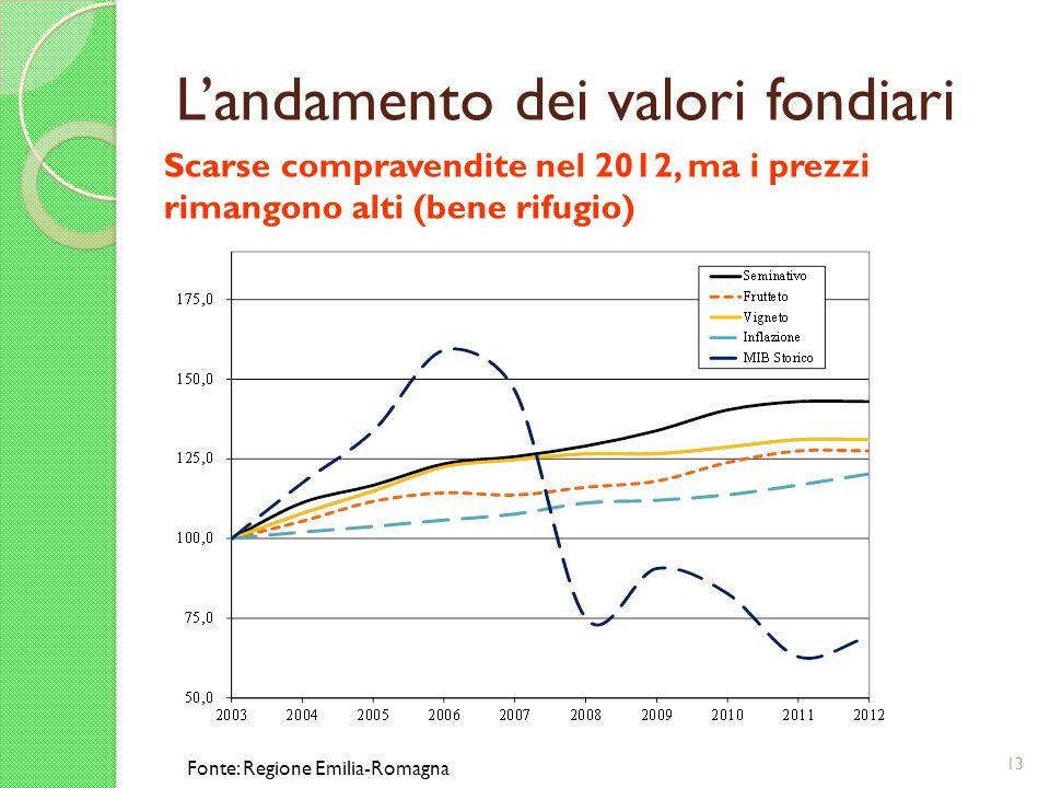 Landamento dei valori fondiari 13 Scarse compravendite nel 2012, ma i prezzi rimangono alti (bene rifugio) Fonte: Regione Emilia-Romagna