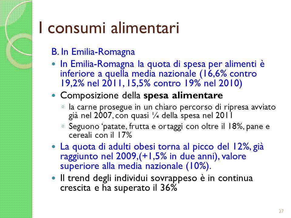 I consumi alimentari B. In Emilia-Romagna In Emilia-Romagna la quota di spesa per alimenti è inferiore a quella media nazionale (16,6% contro 19,2% ne