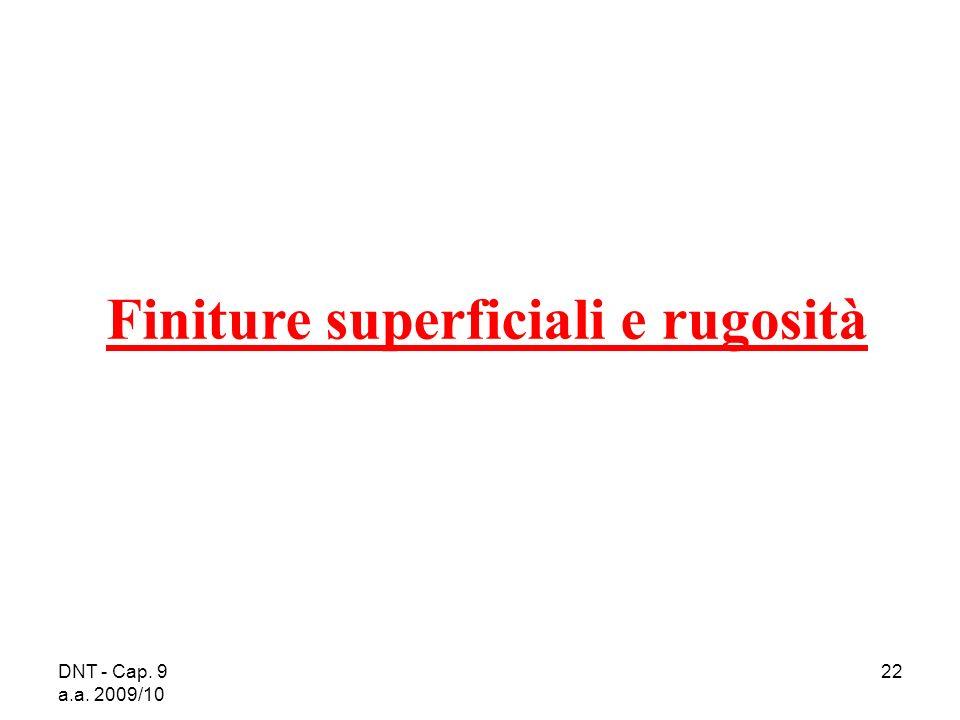 DNT - Cap. 9 a.a. 2009/10 22 Finiture superficiali e rugosità