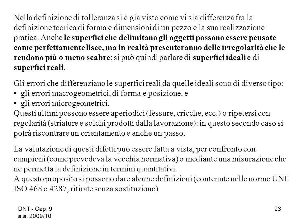 DNT - Cap. 9 a.a. 2009/10 23 Nella definizione di tolleranza si è gia visto come vi sia differenza fra la definizione teorica di forma e dimensioni di