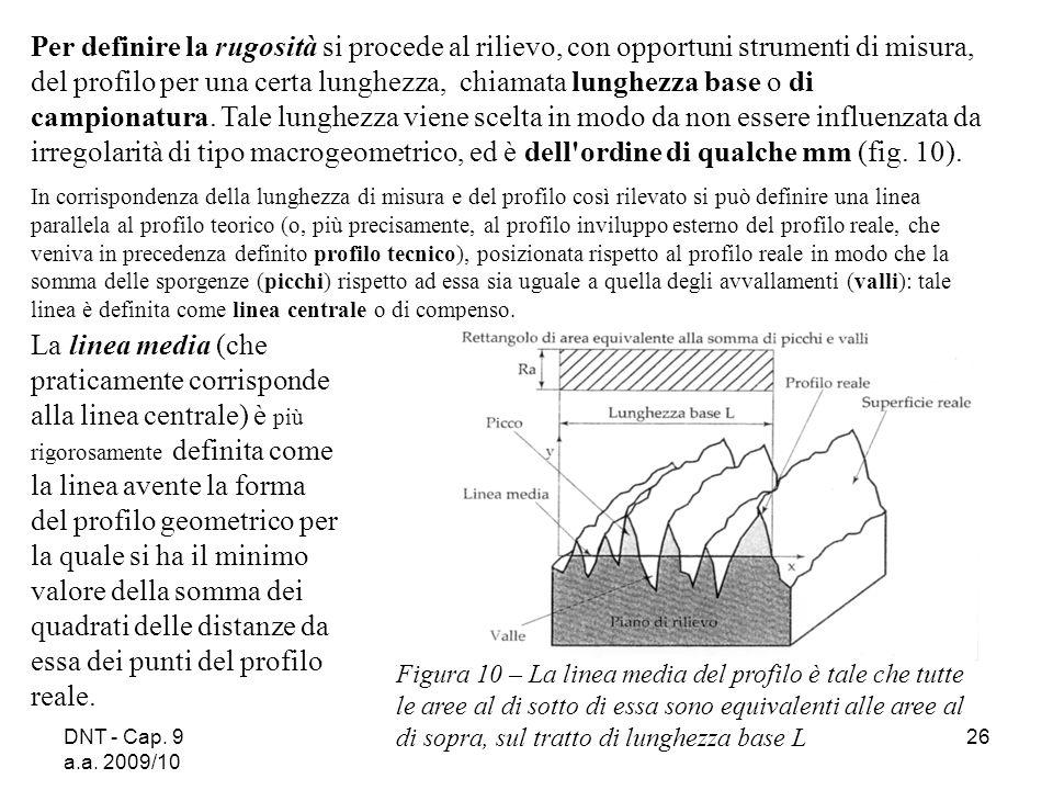 DNT - Cap. 9 a.a. 2009/10 26 Per definire la rugosità si procede al rilievo, con opportuni strumenti di misura, del profilo per una certa lunghezza, c