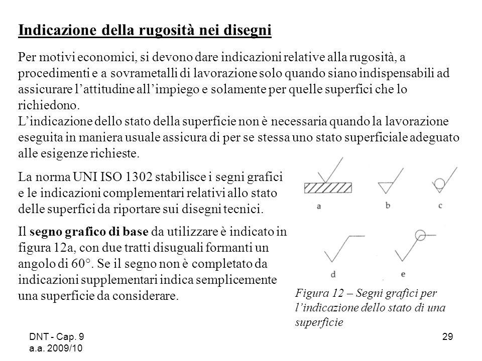 DNT - Cap. 9 a.a. 2009/10 29 Indicazione della rugosità nei disegni Per motivi economici, si devono dare indicazioni relative alla rugosità, a procedi
