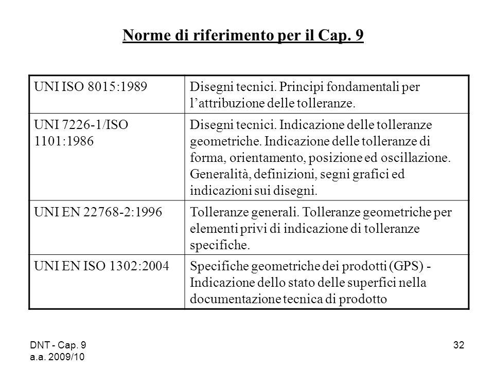 DNT - Cap. 9 a.a. 2009/10 32 Norme di riferimento per il Cap. 9 UNI ISO 8015:1989 Disegni tecnici. Principi fondamentali per lattribuzione delle tolle