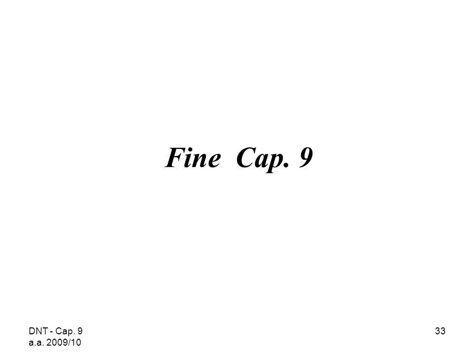 DNT - Cap. 9 a.a. 2009/10 33 Fine Cap. 9