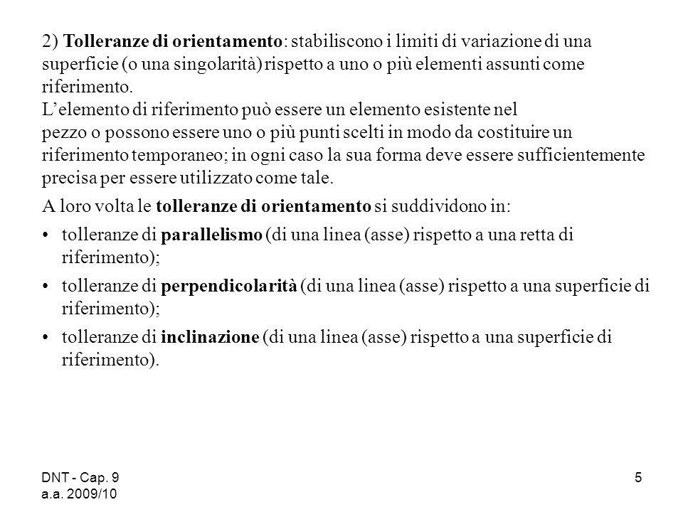 DNT - Cap. 9 a.a. 2009/10 5 2) Tolleranze di orientamento: stabiliscono i limiti di variazione di una superficie (o una singolarità) rispetto a uno o