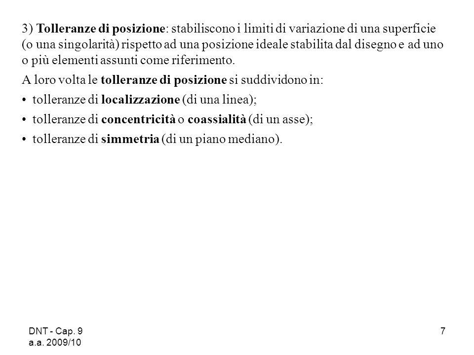 DNT - Cap. 9 a.a. 2009/10 7 3) Tolleranze di posizione: stabiliscono i limiti di variazione di una superficie (o una singolarità) rispetto ad una posi