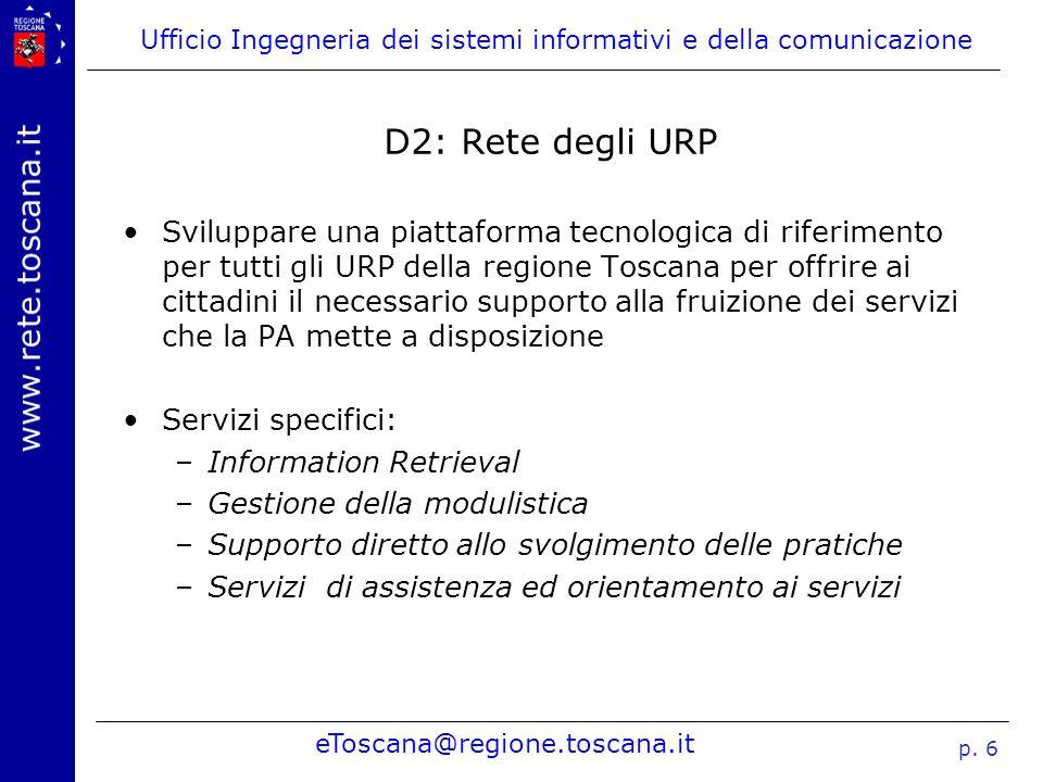 Ufficio Ingegneria dei sistemi informativi e della comunicazione eToscana@regione.toscana.it p. 6 D2: Rete degli URP Sviluppare una piattaforma tecnol