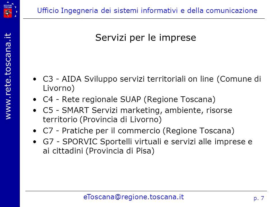 Ufficio Ingegneria dei sistemi informativi e della comunicazione eToscana@regione.toscana.it p. 7 Servizi per le imprese C3 - AIDA Sviluppo servizi te