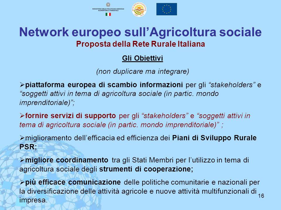 16 Network europeo sullAgricoltura sociale Proposta della Rete Rurale Italiana Gli Obiettivi (non duplicare ma integrare) piattaforma europea di scamb